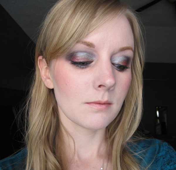 Too Faced Pretty Rebel Eye Shadow look in Dainty, Girly, Totally Fetch, Miss Sparkles, and Jailbird