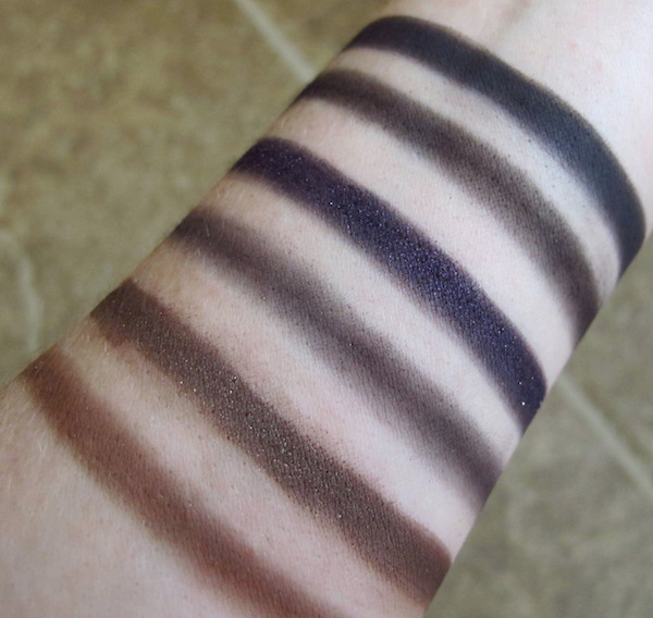 Too Faced Cat Eyes Palette Wet/Dry Swatches (Dry on Left, Wet on Right)