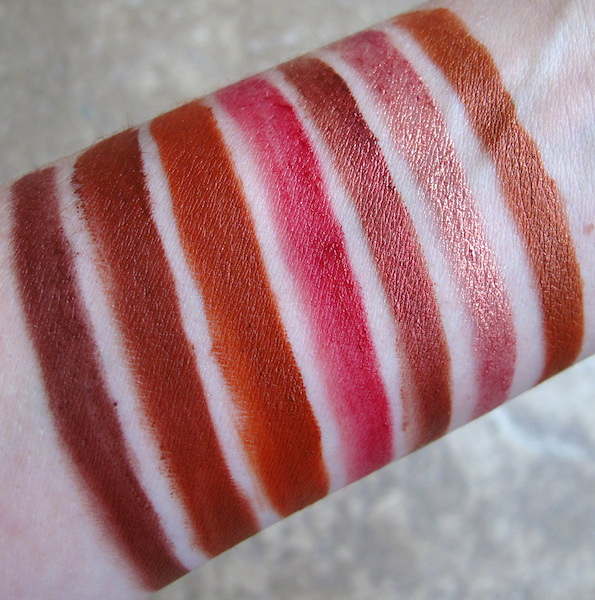 Portland Black Lipstick Company Swatches left to right: Undead Red, Blood Red, This Corrosion, Bugs Blood, Irony, Lux et Voluptas, Bad Penny